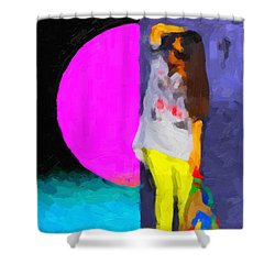 Shower Curtain featuring the digital art Girl Wearing Yellow Jeans by Serge Averbukh
