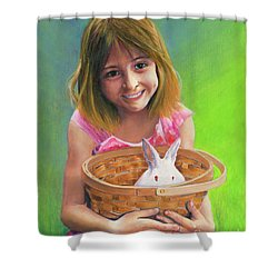 Girl With A Bunny Shower Curtain