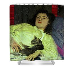 Girl With A Cat 1882 Shower Curtain