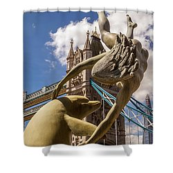 Girl With A Dolphin Fountain Shower Curtain