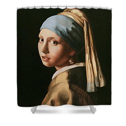 Girl With A Pearl Earring - After Vermeer Shower Curtain