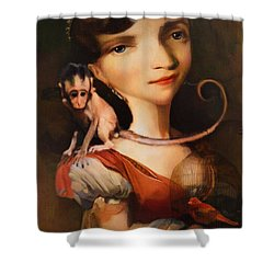 Girl With A Pet Monkey Shower Curtain