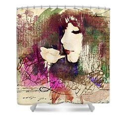Girl With A Rose Shower Curtain