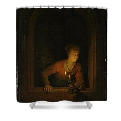 Girl With An Oil Lamp At A Window Shower Curtain by Gerard Dou