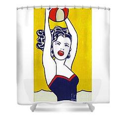 Girl With Ball - Pop Art - Roy Lichtenstein Shower Curtain
