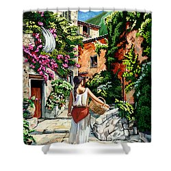 Girl With Basket On A Greek Island Shower Curtain