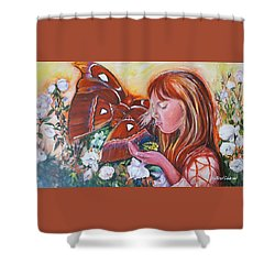 Girl With Butterflies Shower Curtain by Rita Fetisov