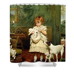 Girl With Dogs Shower Curtain