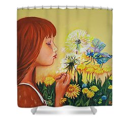 Girl With Flower Shower Curtain by Rita Fetisov