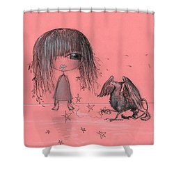 Girl With Griffin  Shower Curtain