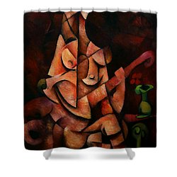 Shower Curtain featuring the painting Girl With Guitar by Kim Gauge