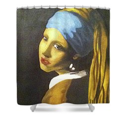 Shower Curtain featuring the painting Girl With Pearl Earring by Jayvon Thomas