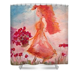 Girl With Poppies Shower Curtain