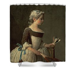Girl With Racket And Shuttlecock Shower Curtain by Jean-Baptiste Simeon Chardin