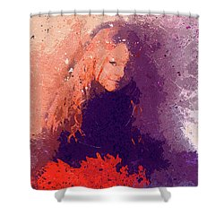 Girl With Red Flowers 2 Shower Curtain