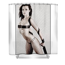 Shower Curtain featuring the photograph Girl With Tape Around Her Breasts by Michael Edwards