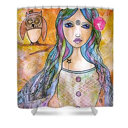 Girl With The Owl  Shower Curtain