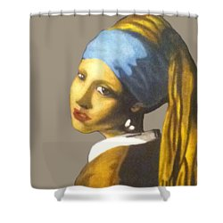 Shower Curtain featuring the painting Girl With The Pearl Earring No Background by Jayvon Thomas
