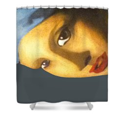 Shower Curtain featuring the painting Girl With The Pearl Earring Side by Jayvon Thomas