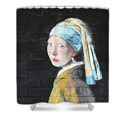Shower Curtain featuring the painting Girl With The Pearl Earring by Stan Tenney