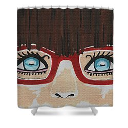 Shower Curtain featuring the painting Girl With The Red Glasses by Kathleen Sartoris