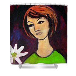 Shower Curtain featuring the painting Girl With White Flower by Winsome Gunning