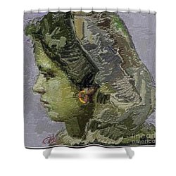 Girl With Yellow Earring Gwye2 Shower Curtain by Pemaro