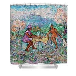 Shower Curtain featuring the painting Girlfriends' Teatime Iv by Xueling Zou