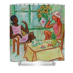Shower Curtain featuring the painting Girlfriends' Teatime V by Xueling Zou