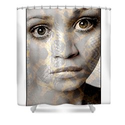 Shower Curtain featuring the photograph Girls Face With Snake Skin Texture by Michael Edwards