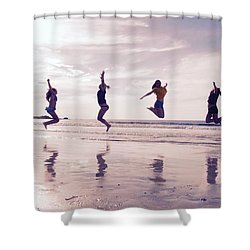 Girls Jumping On Lofoten Beach Shower Curtain by Tamara Sushko