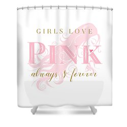 Girls Love Pink Woman Silhouette Shower Curtain by Tracie Kaska