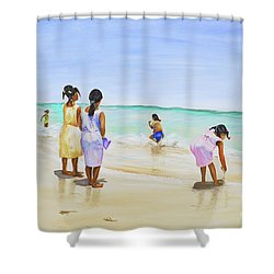 Shower Curtain featuring the painting Girls On The Beach by Patricia Piffath