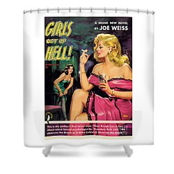 Shower Curtain featuring the painting Girls Out Of Hell by George Gross