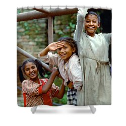 Girls Smiling In Kathmandu, Nepal Shower Curtain