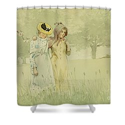 Girls Strolling In An Orchard Shower Curtain by Winslow Homer