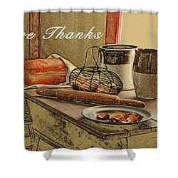 Give Thanks Shower Curtain by Michael Peychich