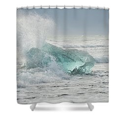 Glacial Iceberg In Beach Surf. Shower Curtain