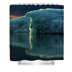 Shower Curtain featuring the photograph Glacial Lagoon Reflections by Allen Biedrzycki