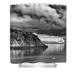 Glacier Bay Alaska In Bw Shower Curtain