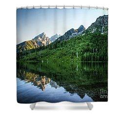 Glacier Lake Shower Curtain by Rebecca Hiatt