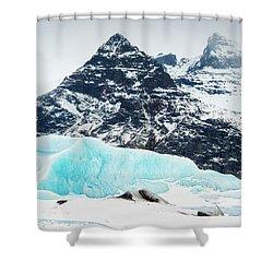 Shower Curtain featuring the photograph Glacier Landscape Iceland Blue Black White by Matthias Hauser