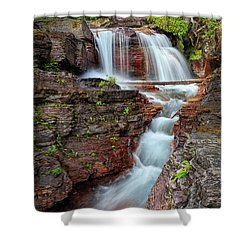 Glacier National Park Waterfall 2 Shower Curtain by Andres Leon