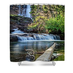 Glacier National Park Waterfall 3 Shower Curtain by Andres Leon