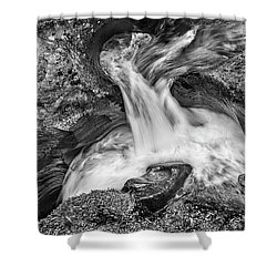 Glacier National Park's Avalanche Gorge In Black And White Shower Curtain