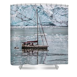 Shower Curtain featuring the photograph Glacier Sailing by Ed Clark