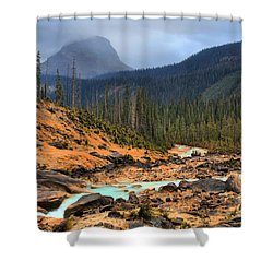 Shower Curtain featuring the photograph Glacier Waters Flowing Through Yoho National Park by Adam Jewell