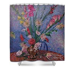 Gladiolas And Dahlias Shower Curtain by Donald Maier