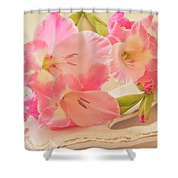 Gladiolas In Pink Shower Curtain by Sandra Foster