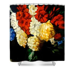 Shower Curtain featuring the painting Gladiolas by Jenny Lee